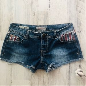 Frayed Short Distressed Shorts Red White & Blue 5